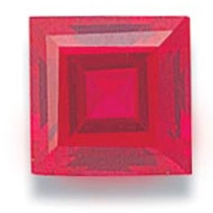 Picture of Ruby Red Square Cut CZ (6mm)
